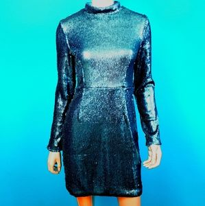 MISSGUIDED Teal Sequin  High Neck Mini Dress (NWT)